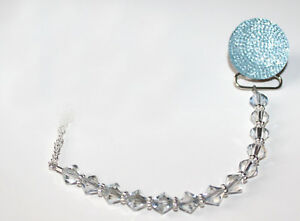 Blue Sparkly Glitter Crystal with Swarovski Crystals Baby Pacifier Clip
