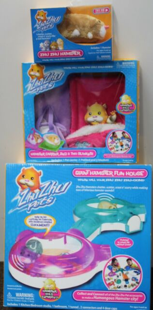 ZHU ZHU GIANT FUN HOUSE CARRIER BED 2 HAMSTERS Track Gift Set Original Lot NEW