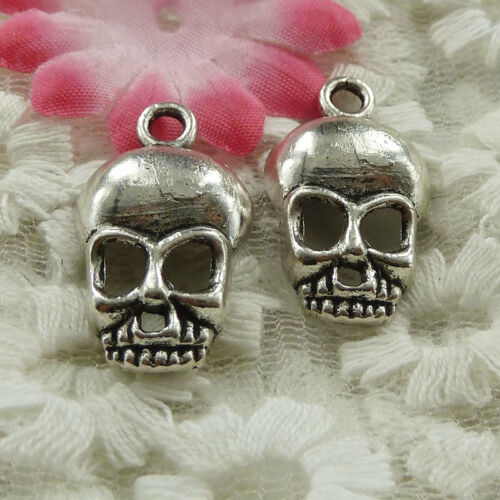 free ship 144 pieces Antique silver skull charms 27x15mm #3996