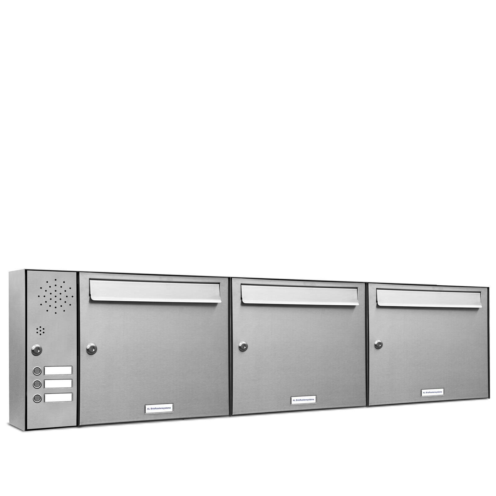 3 er Premium V2A Edelstahl Briefkasten Anlage Klingel A4 Postkasten modern 3x1