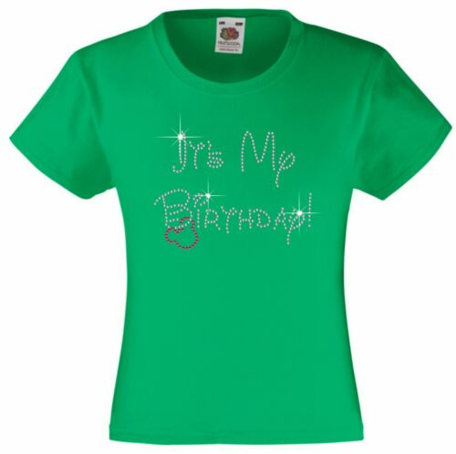 It/'s My Birthday Rhinestone Diamanté Embellished T Shirt Gift  for Girls
