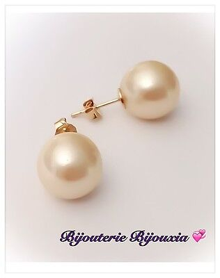 AAA 9-8 mm South Sea Pearl Boucles D/'Oreilles 14K Or Jaune