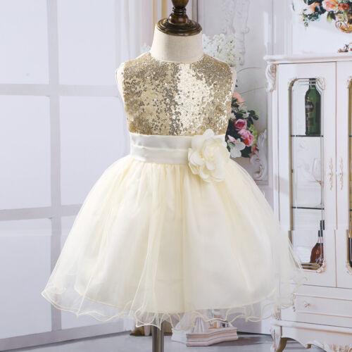 Flower Girl Princess Dress Toddler Baby Sequins Tutu Dress Party Wedding Pageant
