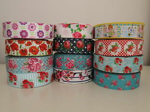 Floral-Printed-Grosgrain-Ribbon-Hair-Clips-Cake-Craft-Hair-Bow-1-Meter-38mm