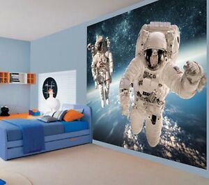 Image Is Loading Cool Astronauts In Space Spacewalk Kids Bedroom Wallpaper