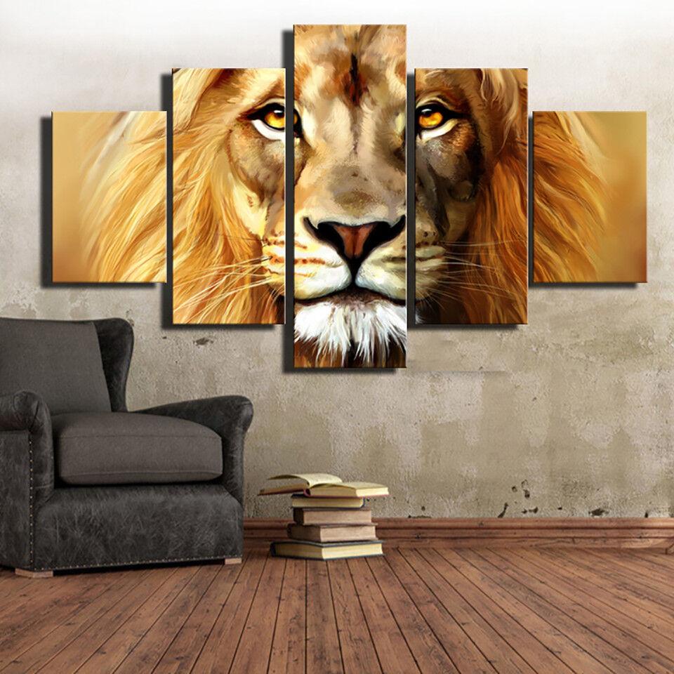 African Lion Head Framed 5 Piece Canvas Print Wall Art