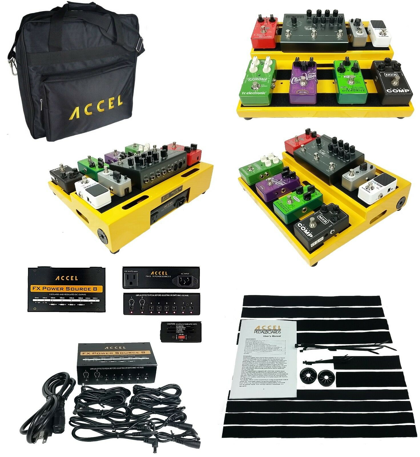 Accel XTA15 Guitar Pedal board (Gelb), FX Power Source 8 & Tote