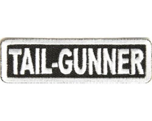 "Biker Club Rank Title TAIL GUNNER 3/"" x 1/"" iron on patch 2866"