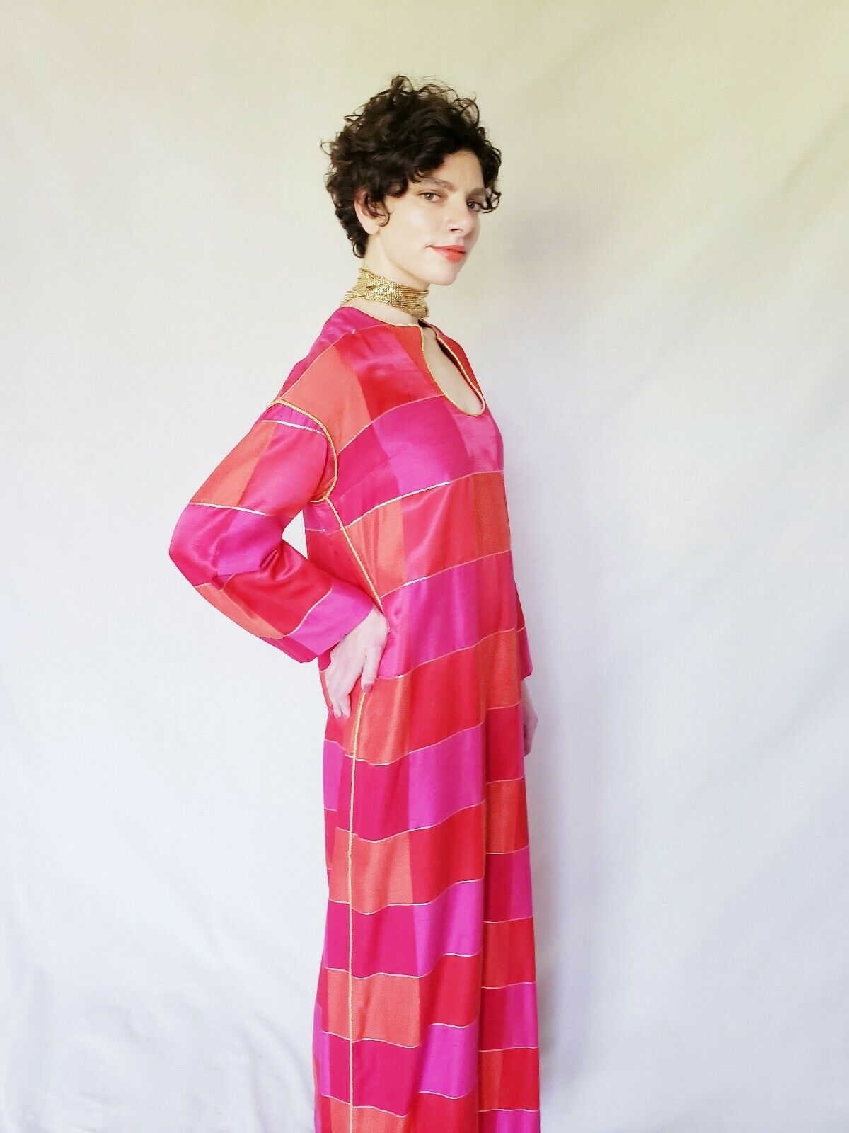 1960s Red Caftan Maxi Dress Patchwork Squares Pin… - image 5