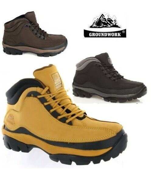 MENS SAFETY BOOTS STEEL TOE CAP GROUNDWORK WORK LEATHER HIKING SHOES