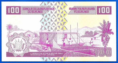 Burundi 100 Francs 2010 UNC Africa Boat Animal Frcs Franc Free Shipping world