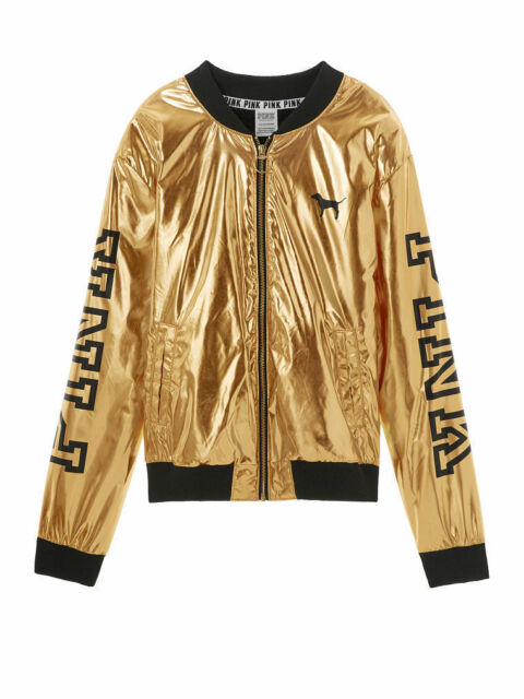 b36323682 Victoria's Secret Pink Metallic Gold Bomber Jacket Coat Sherpa Lined Small