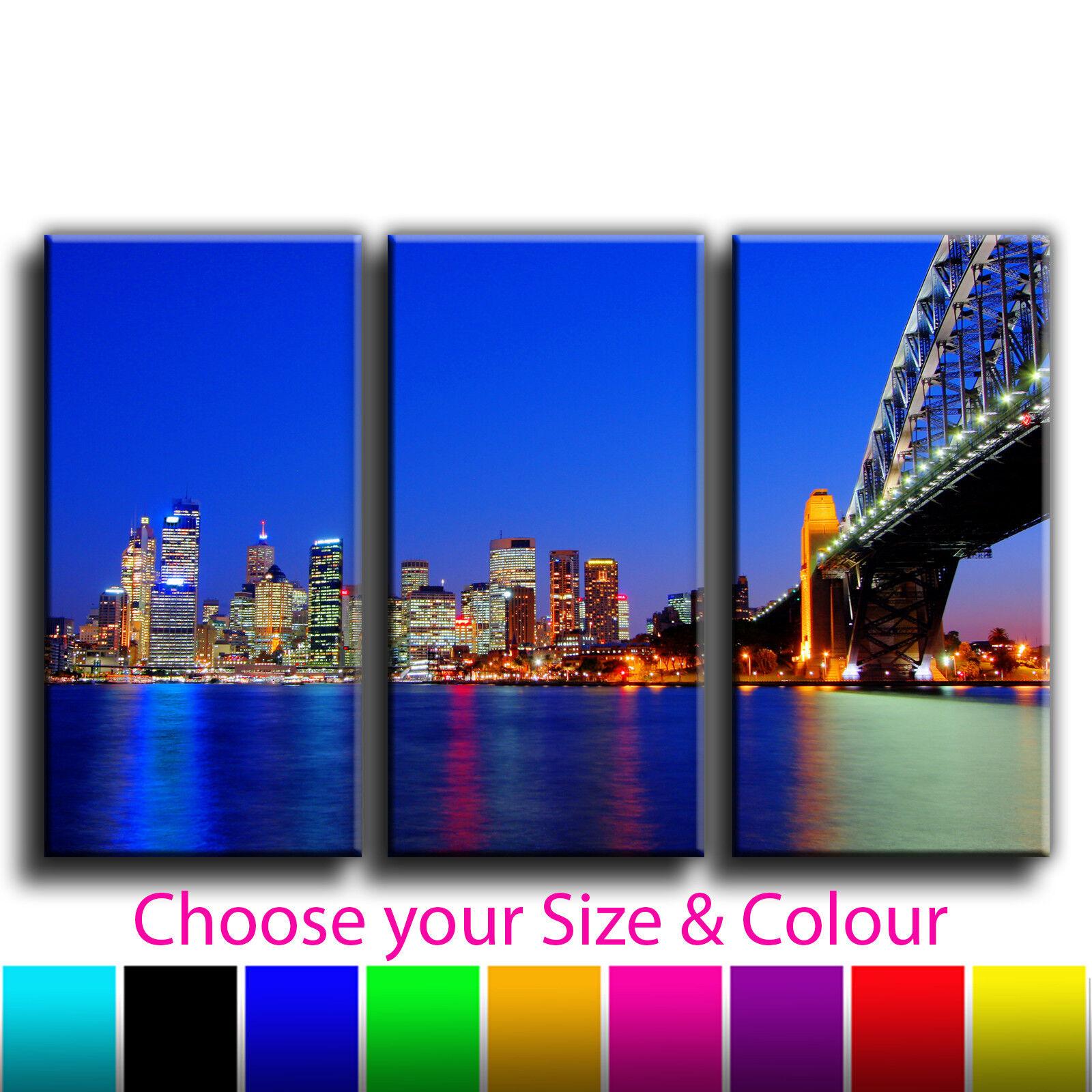 Australia Sydney Harbor Bridge Landscape Treble Canvas Wall Art Picture Print 13