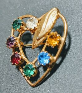Multi Colored Jewel Tones Gold Plated Rhinestone Double Heart Brooch Pin Leaves
