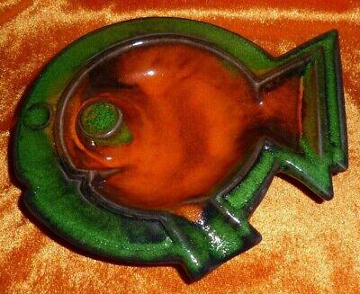 Mutig Midcentury Keramik Aschenbecher Fat Lava - Pop Art Fisch Geometrisch Orange+grün Um Zu Helfen, Fettiges Essen Zu Verdauen