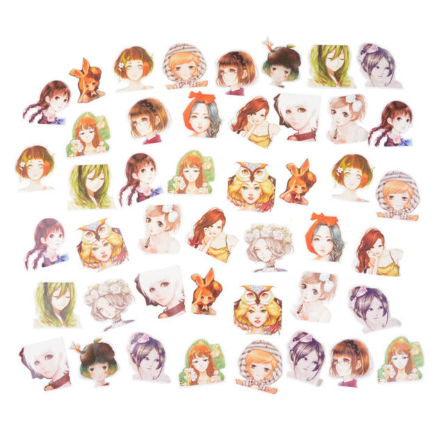 45Pcs  Kawaii Girl Paper Stickers Diary Decor Diy Scrapbooking Christmas GiftJHQ