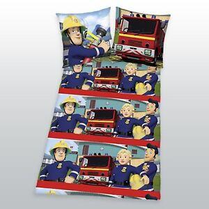 Biber-Bettwaesche-Feuerwehrmann-Sam-80-x-80-und-135-x-200-cm-Flanell