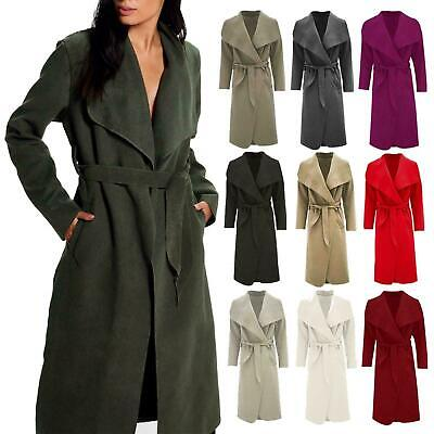 women Ladies Italian Long Duster Coat French Belted Trench Waterfall Jacket 8-16
