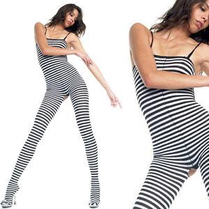 1f92e4e0fcf Black   White Opaque Striped Halter Top Crotchless Bodystocking Body ...