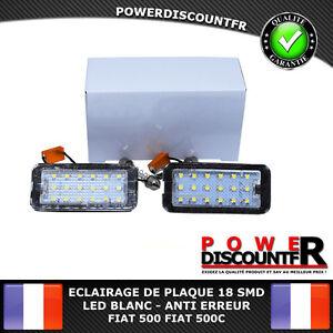 FEUX-ECLAIRAGE-DE-PLAQUE-LED-BLANC-XENON-FIAT-500-FIAT-500C-ANTI-ERREUR-CANBUS