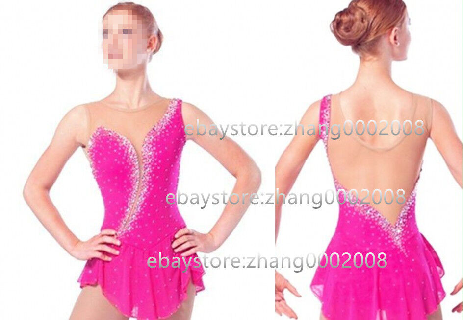 Ice skating dress.Figure Skating Dress .Pink Competition RG Twirling Costume