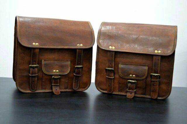 Saddlebags Motorcycle Pouch Brown Leather Two Bags Panniers Saddle Bag