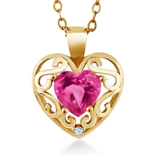 0.81 Ct Heart Shape Pink Created Sapphire 18K Yellow Gold Plated Silver Pendant