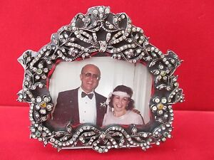 Small Free-Standing  Antique Silver Frame With 300+ Paste Brilliants