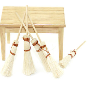 1-12-Dollhouse-furniture-miniature-wood-broom-dolls-house-kitchen-yard-access-SG