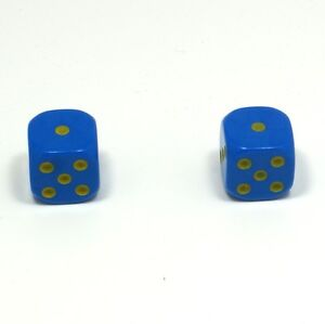 1-Pair-of-Blue-Yellow-Spots-Dice-Dust-Caps-Snake-Eyes-BMX-Retro-Valve-Caps