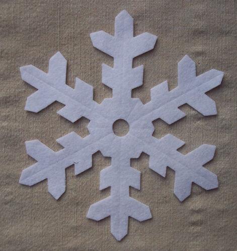 WHITE die cut Christmas appliqués BULK x12 FELT LARGE 12.5cm SNOWFLAKES