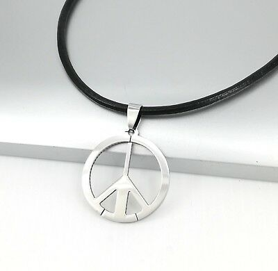 Silver Retro Hippie Hippy Peace Pendant Brown Braided Leather Surfer Necklace