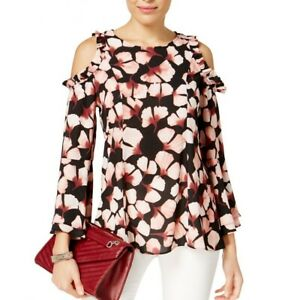 ALFANI-NEW-Women-039-s-Floating-Petals-Print-Cold-shoulder-Blouse-Shirt-Top-TEDO