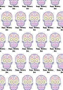 Personnalisé Coloré A2 Crâne Imprimer Papier Cadeau Anniversaire Toute Occasion