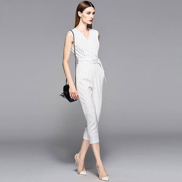 Kleid anzug sommer weiß nadelstreifen élégant komfortabel licht hose 4466