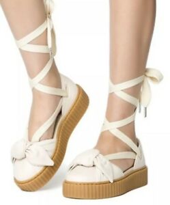 online store e9981 b1a67 Details about PUMA X RIHANNA FENTY WOMEN'S OATMEAL BOW CREEPER SANDALS  PLATFORM LACE UP sz 8.5
