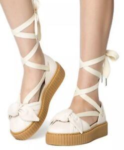 online store 91146 850b1 Details about PUMA X RIHANNA FENTY WOMEN'S OATMEAL BOW CREEPER SANDALS  PLATFORM LACE UP sz 8.5