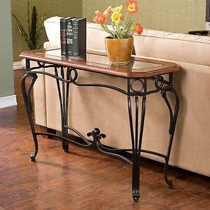 Sofa Table Wood Glass Wrought Iron Hallway Console Cherry Finish