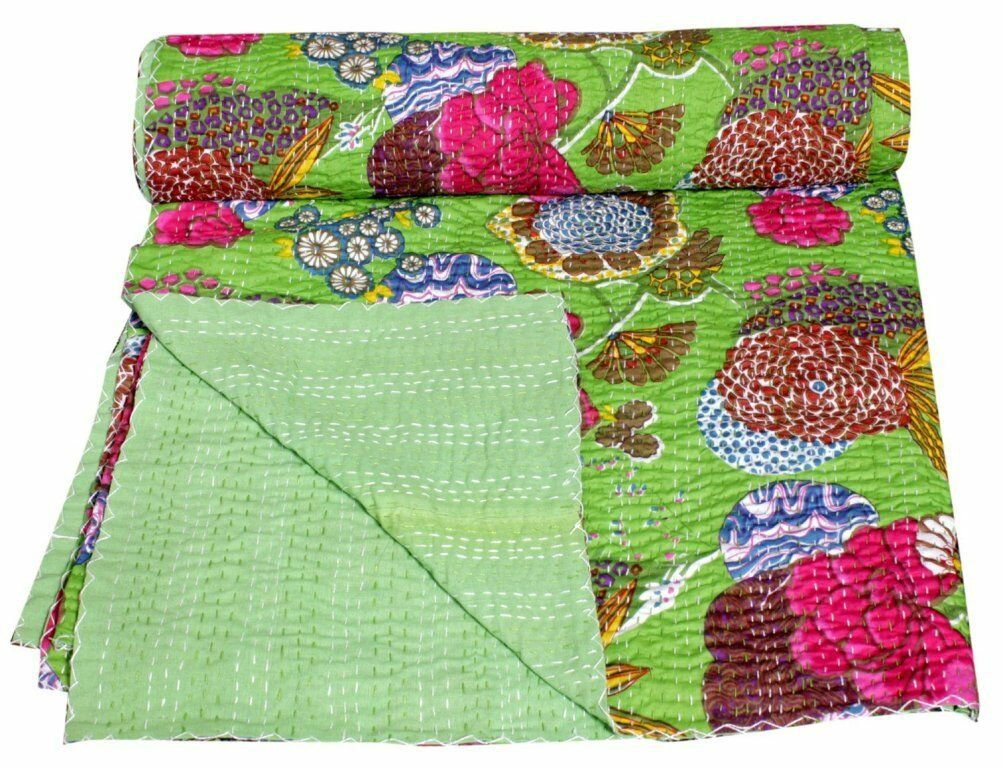Handmade Quilt Vintage Parred Green Kantha Bedspread Throw Cotton Blanket Gudri