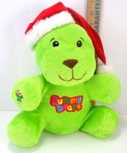 Plush-Stuffed-Gummy-Bears-Christmas-Bright-Green-Santa-Hat-Candy-Cane-Dan-Dee