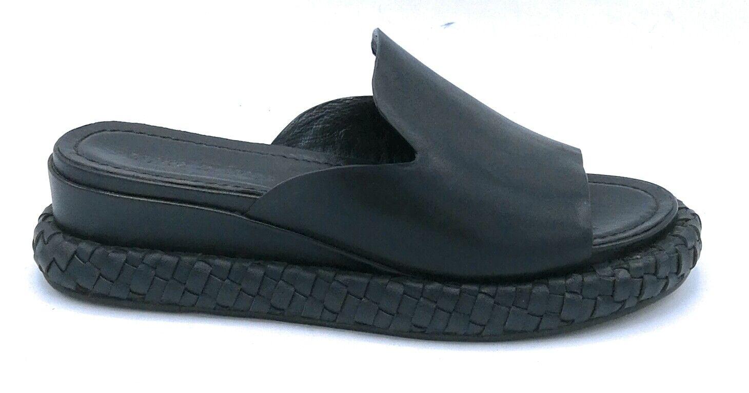 Zanon H1302X  ciabatta in pelle noir con suola intreccio