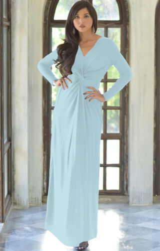 Womens Long Sleeve Semi Formal Elegant Fall Winter Flowy V-Neck Gown Maxi Dress