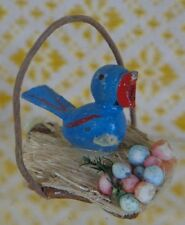 Vintage Miniature Wood Blue Bird in Straw Easter Basket  ~ FREE SHIPPING