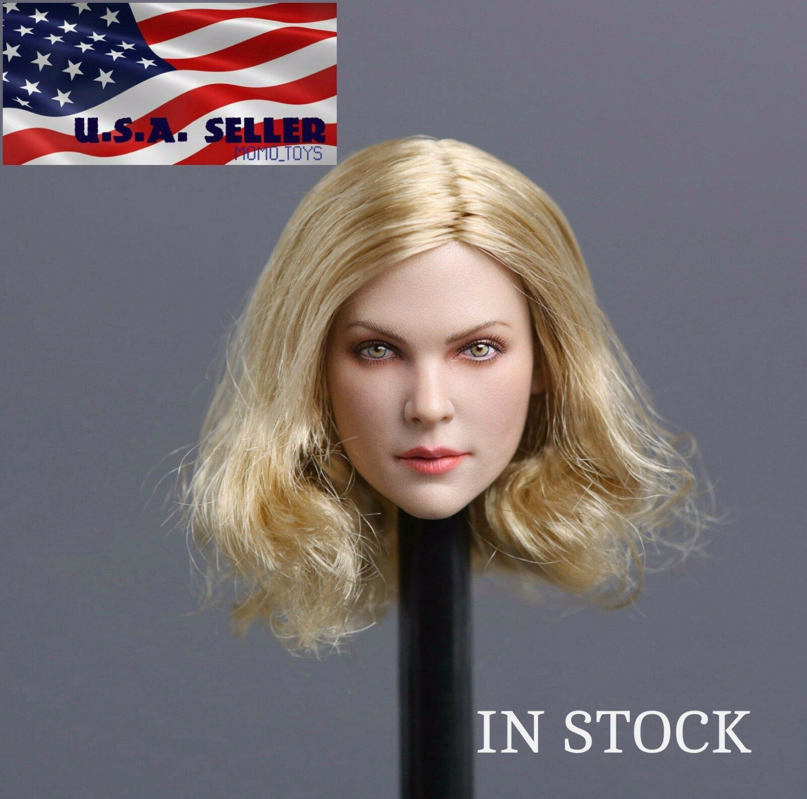 1 6 American European Female Head Blonde Short Hair For Hot Toys Phicen Figure