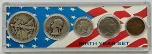 1936 5 US Coin Birth Year Set Plastic Holder Half/Quarter/Dime/Nickel/Cent