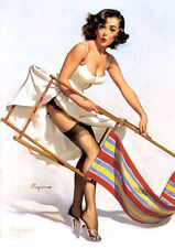 Large Framed Print - Gil Elvgren Classic Vintage Pin Up With Deckchair (Picture)