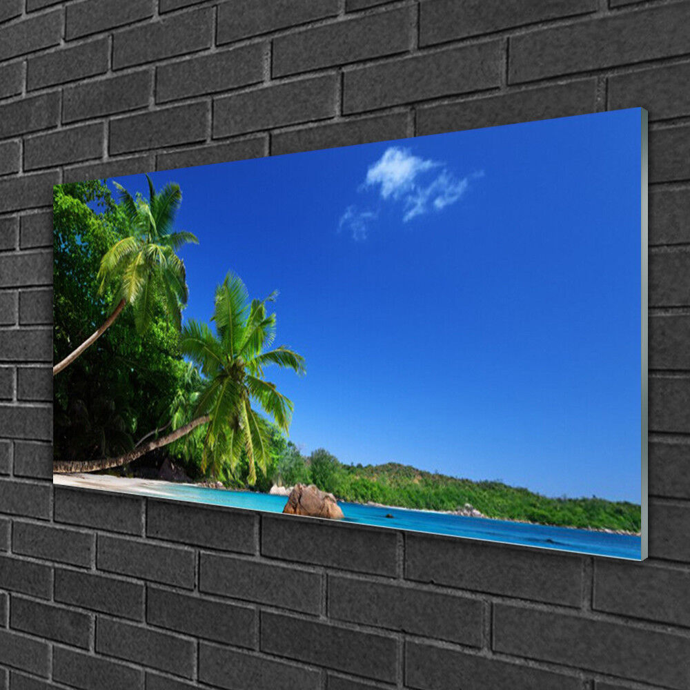 Glass print Wall art 100x50 Image Picture Palm Trees Landscape