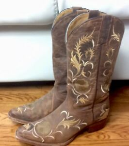 cb97ef483e Womens 6.5 B Shyanne Floral Embroidered Western Boots Brown Leather ...
