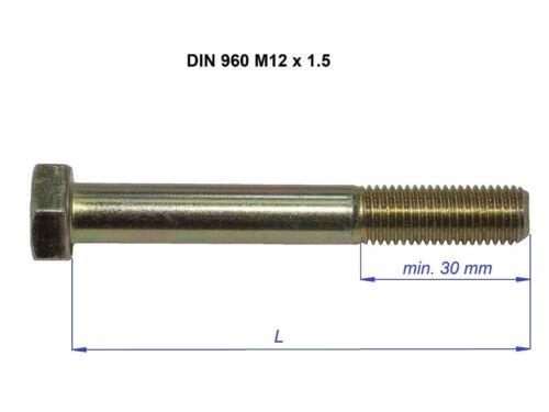 M12 X 1.5 Métrique Fine Boulons Ensembles Tête Hexagonale 10.9 Grade Jaune Zinc Plaqué