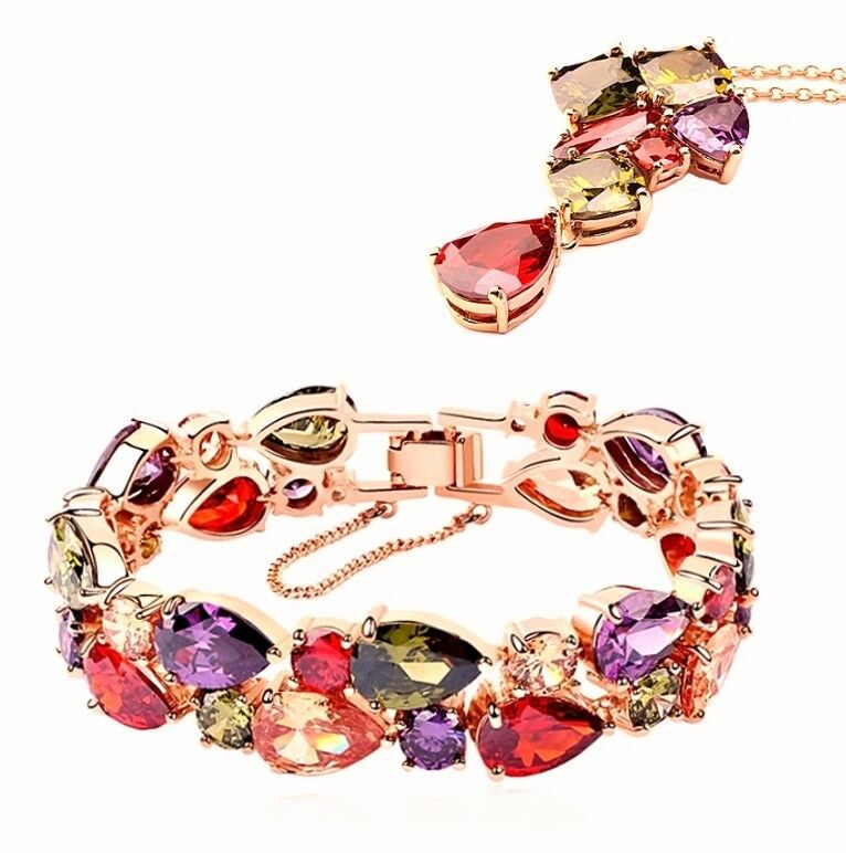 LUSSO Schmuckset Bracciale Bracelet Bracelet Bracelet Collana Catena Ciondolo Zirconia 18k oro PL. 1a9a0a
